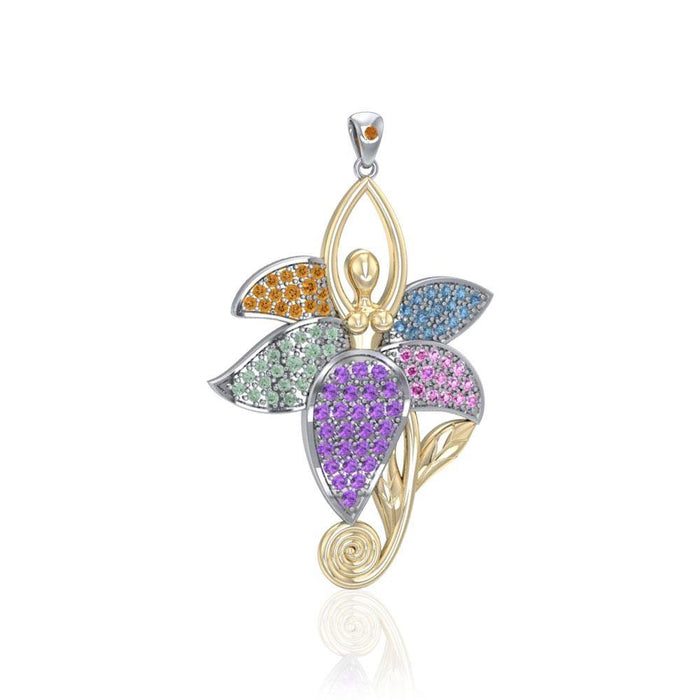 Dancing Lotus Silver Gold & Gemstone Pendant MPD1557