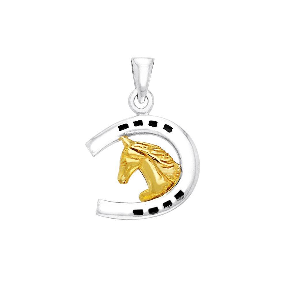 Friesian Horse in Horseshoe Silver & Gold Pendant MPD2101