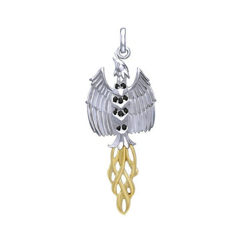 Rising Phoenix Silver and Gold Pendant MPD2911 peterstone.