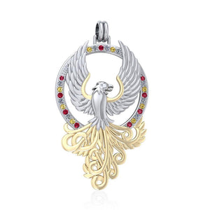 Majestic Phoenix Silver and Gold Pendant MPD2916 peterstone.