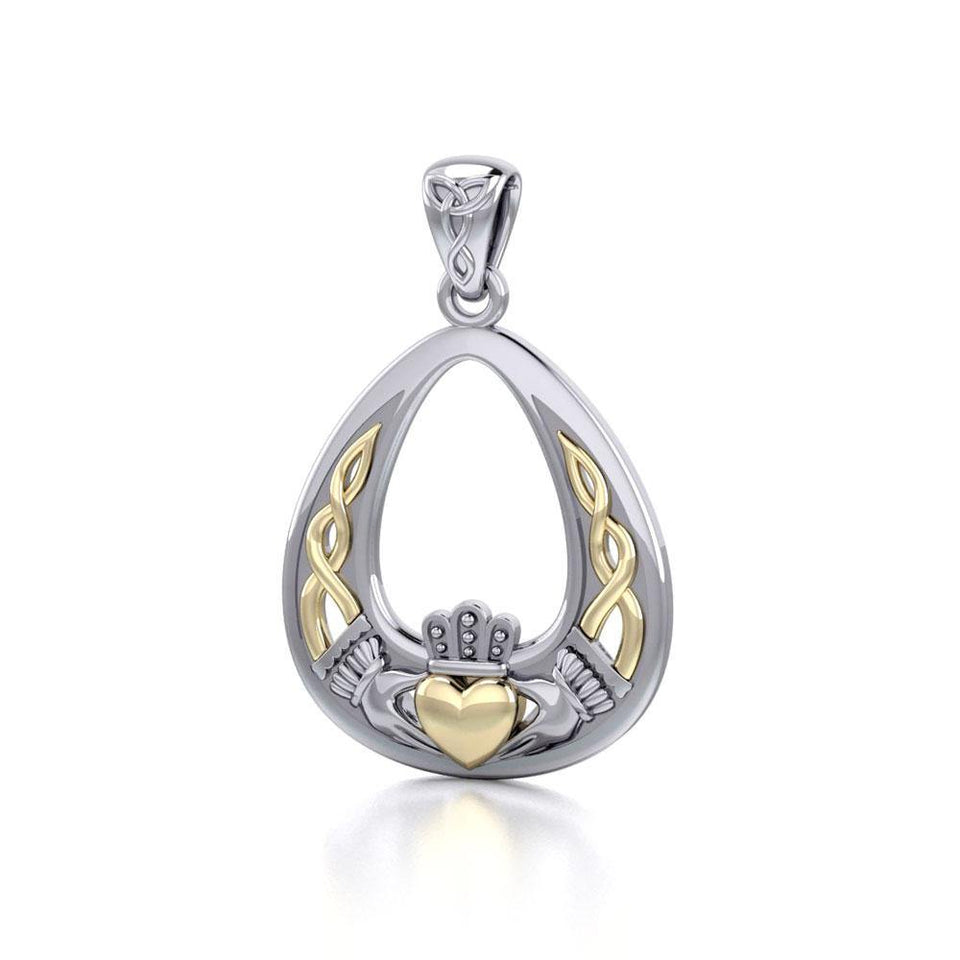 Celtic Claddagh Silver and Gold Pendant MPD3034 peterstone.