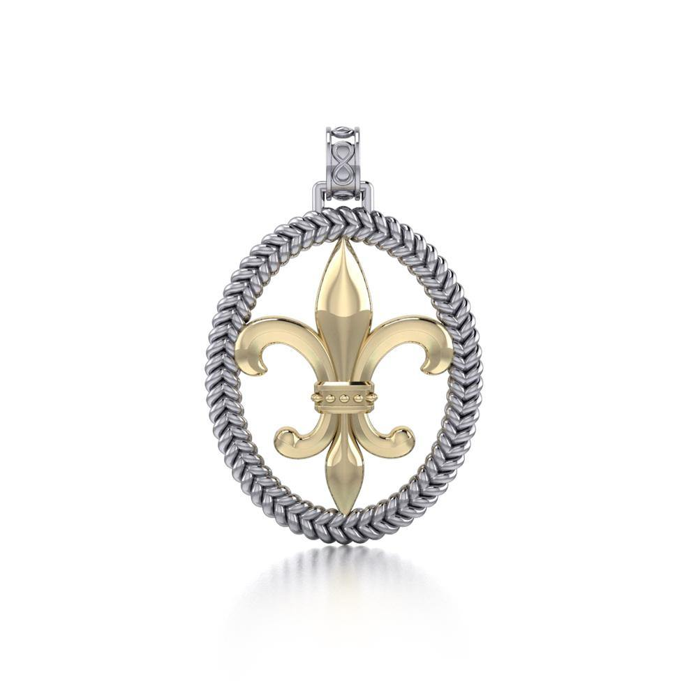 Crowned with Nobility and Spirituality ~ Sterling Silver Jewelry Fleur-de-Lis Braided Pendant MPD323