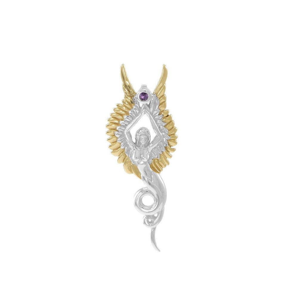 Captured by the Grace of the Angel Phoenix ~ Silver and 18K Gold Accent Jewelry Pendant with Amethyst