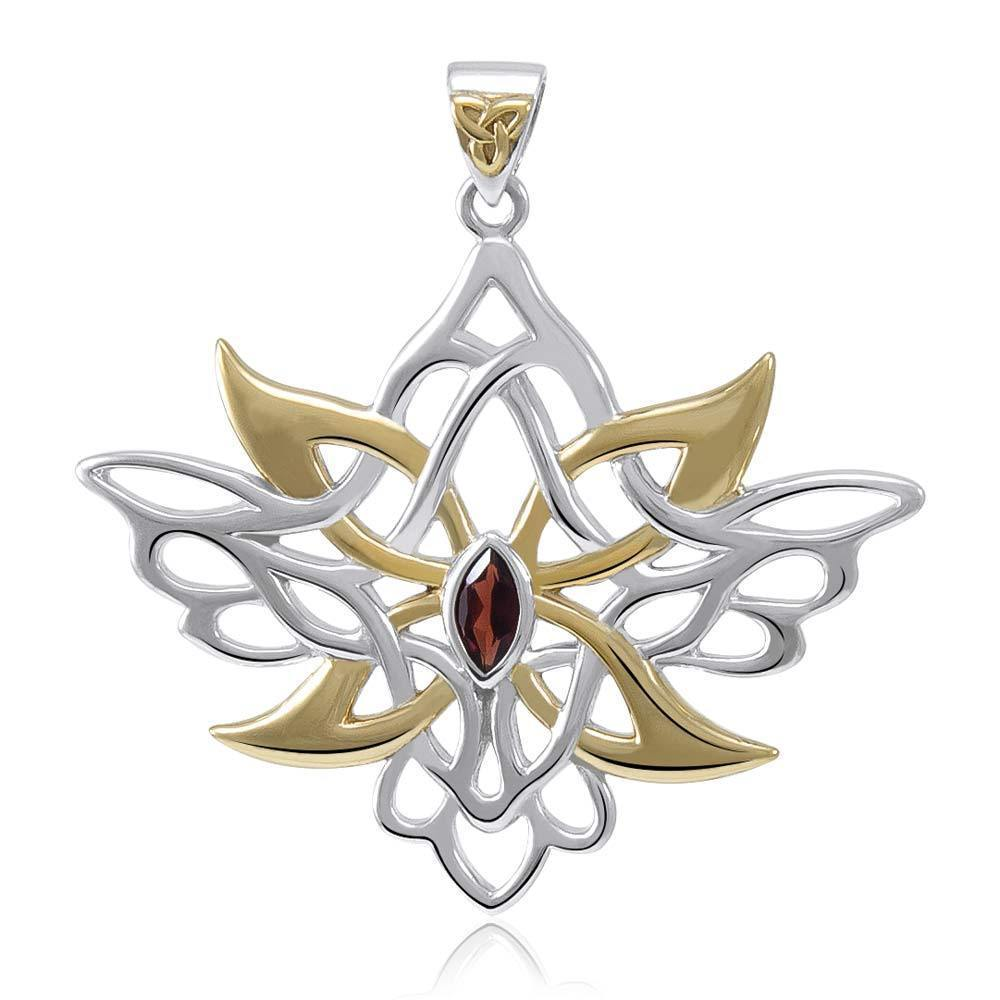 Abstract and Modern Celtic Art ~ Sterling Silver Jewelry Pendant with Shimmering Gemstone MPD3527