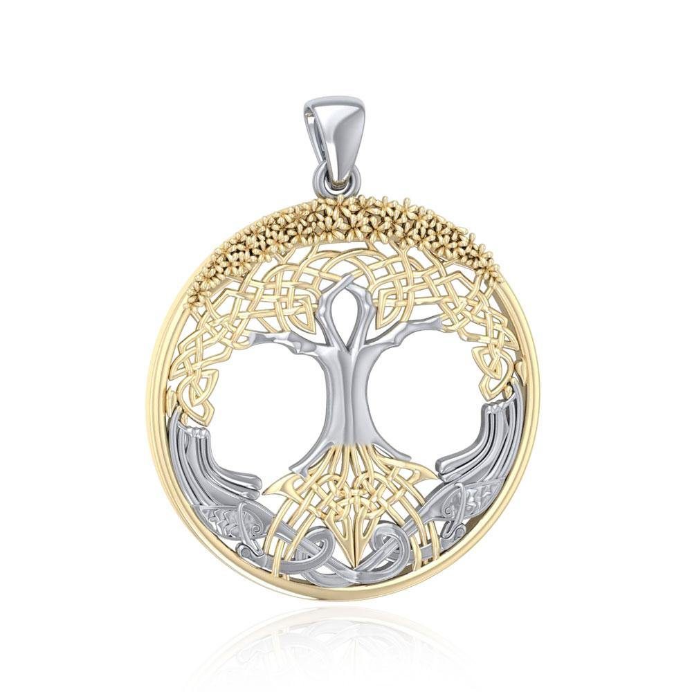 Behold the Magnificent Tree of Life ~ 14k Gold accent and Sterling Silver Jewelry Pendant MPD3544 peterstone.