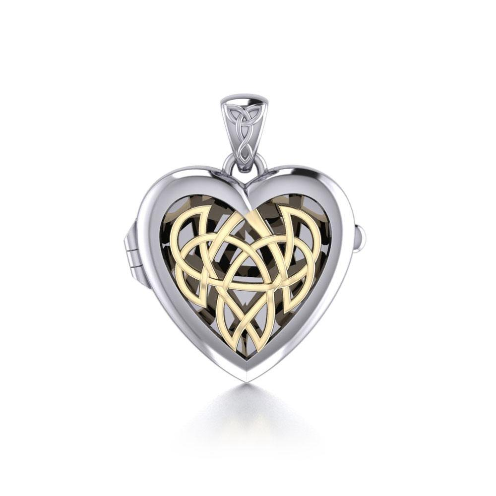 Celtic Heart Aroma Silver and God Locket Pendant MPD5040