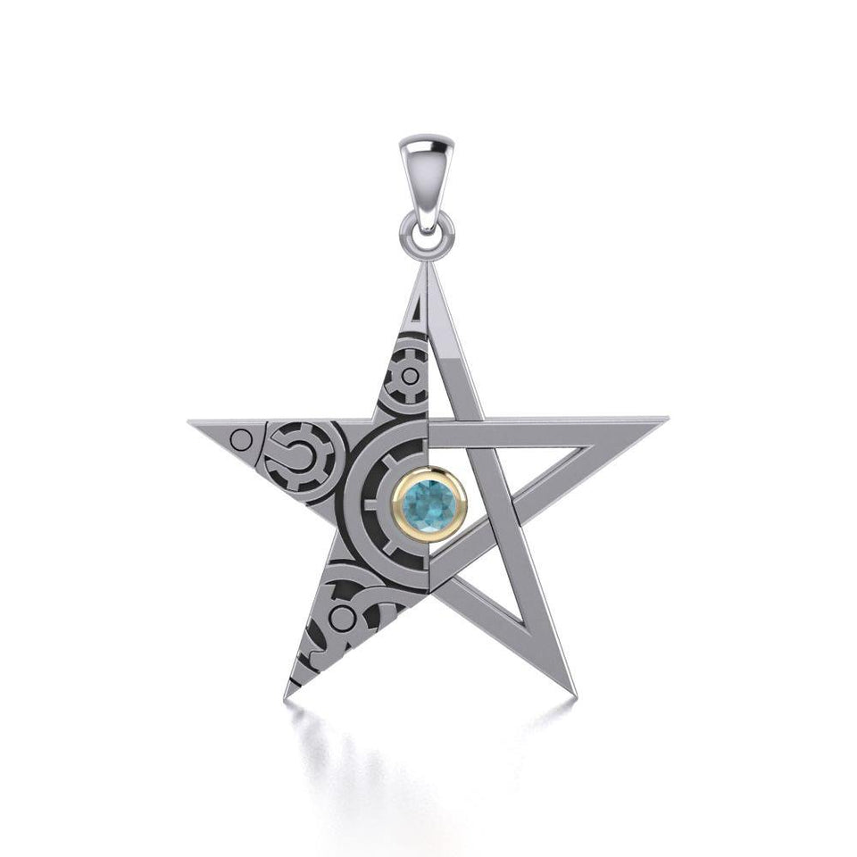 The Star Steampunk Silver and Gold Pendant MPD3870