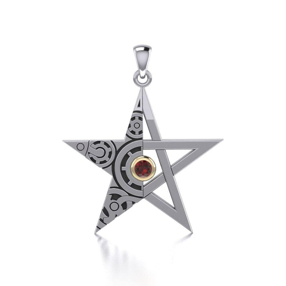The Star Steampunk Silver and Gold Pendant MPD3870 peterstone.