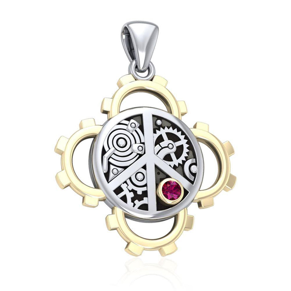 Peace Steampunk Sterling Silver and Gold Pendant MPD3927 peterstone.