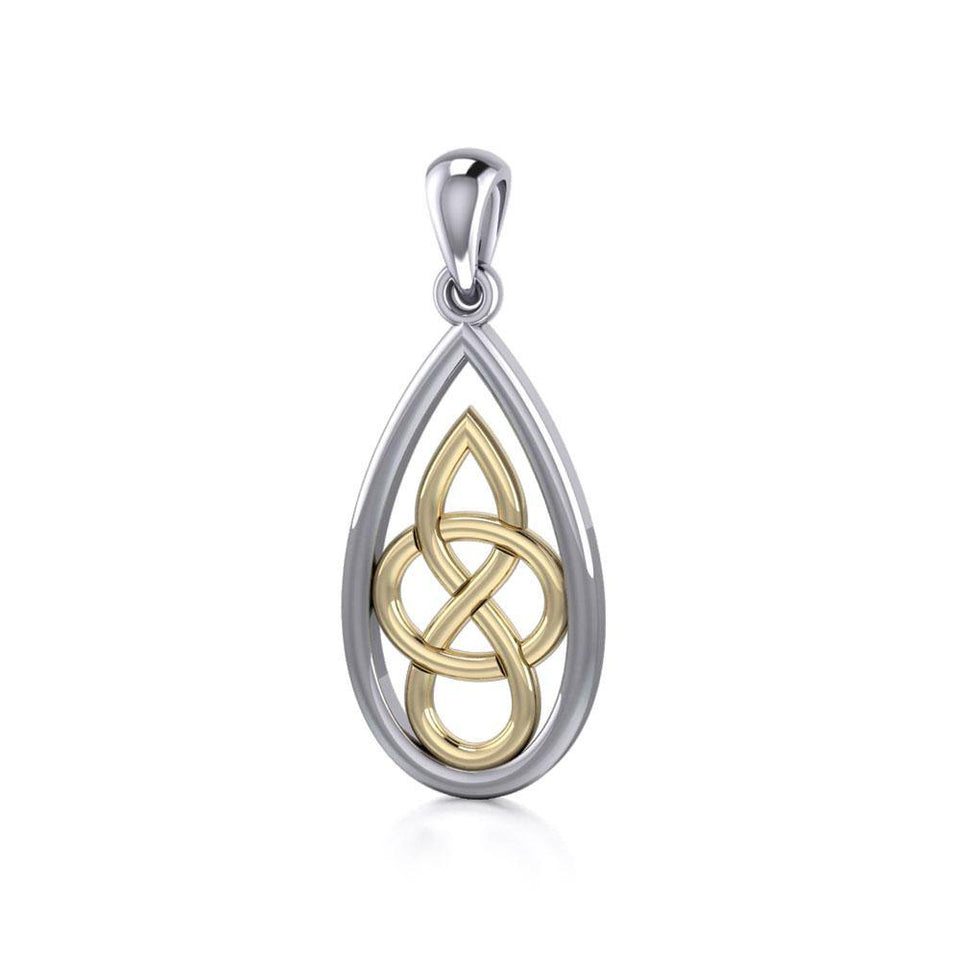 Modern Celtic Knot Silver and Gold Pendant MPD4197 peterstone.
