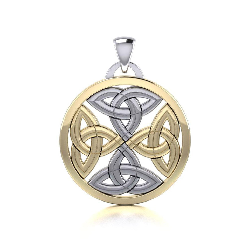Celtic Trinity Quaternary Knot Silver and Gold Pendant MPD4631 peterstone.
