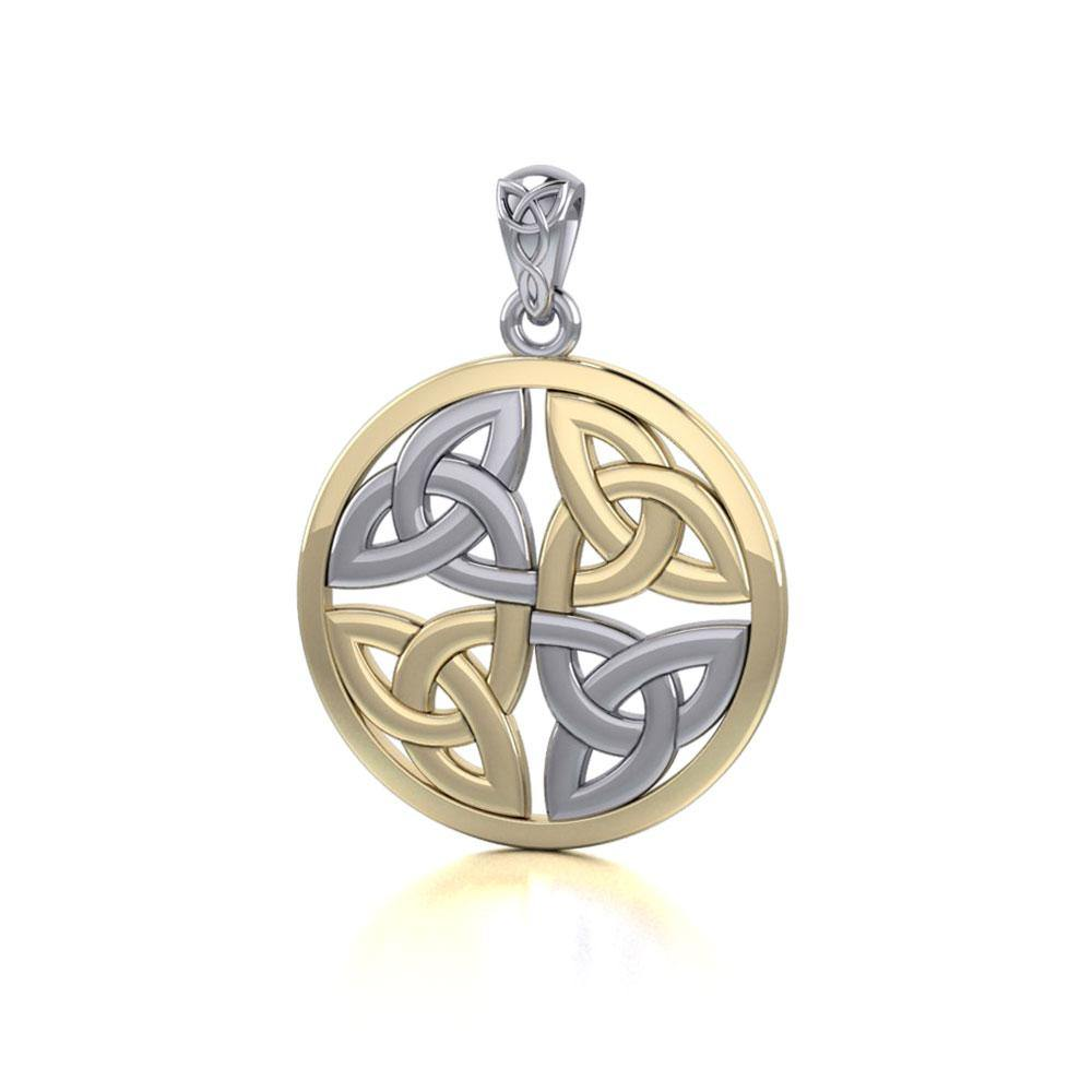 Celtic Trinity Quaternary Knot Silver and Gold Pendant MPD4637