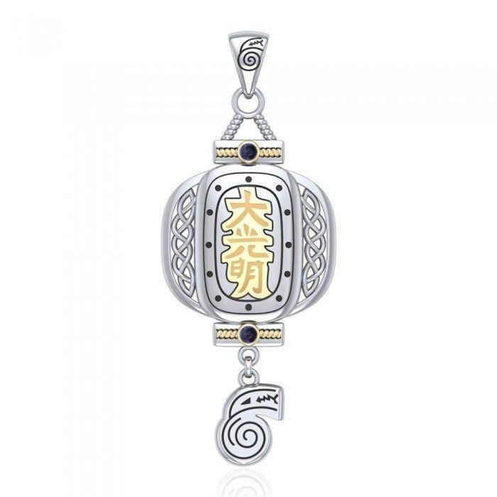 The Reiki Japanese Lantern and Dangling Dai Ko Myo Symbol Silver and Gold Pendant with Gemstone MPD4927