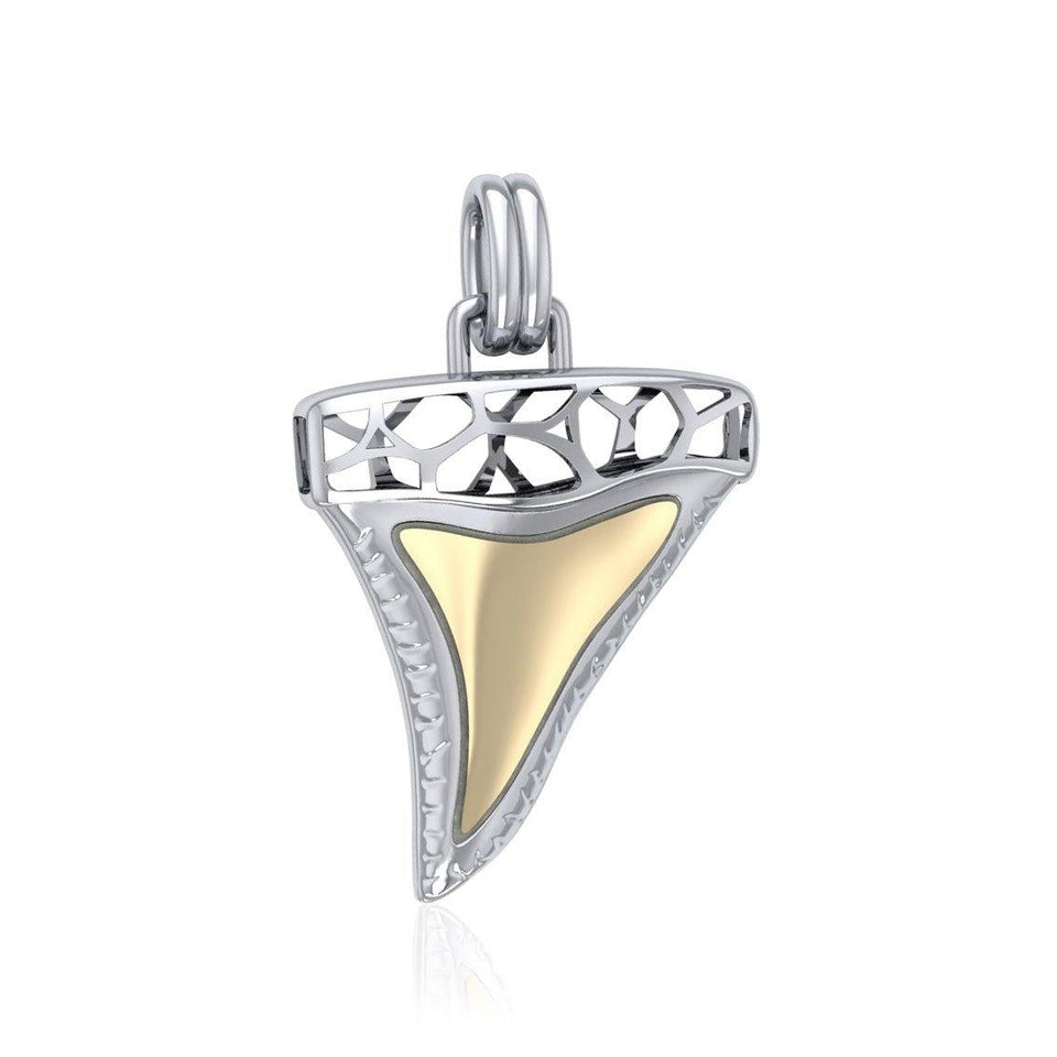 Window to Universe Shark Tooth Silver and Gold Pendant MPD5047