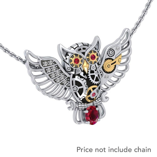 Steampunk Owl Silver and Gold Pendant with Gemstone MPD5070 peterstone.