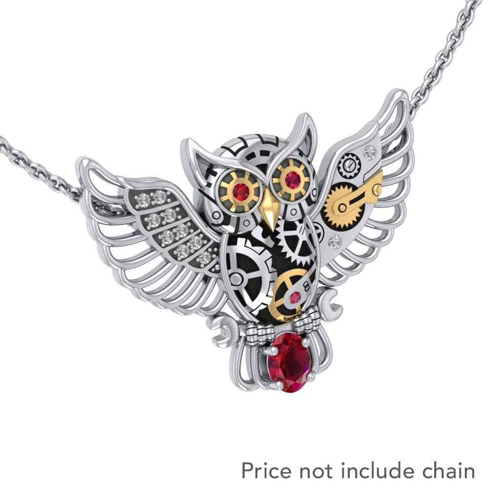 Steampunk Owl Silver and Gold Pendant with Gemstone MPD5070