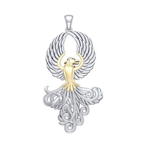 Majestic Phoenix Silver and Gold Pendant MPD5071 peterstone.