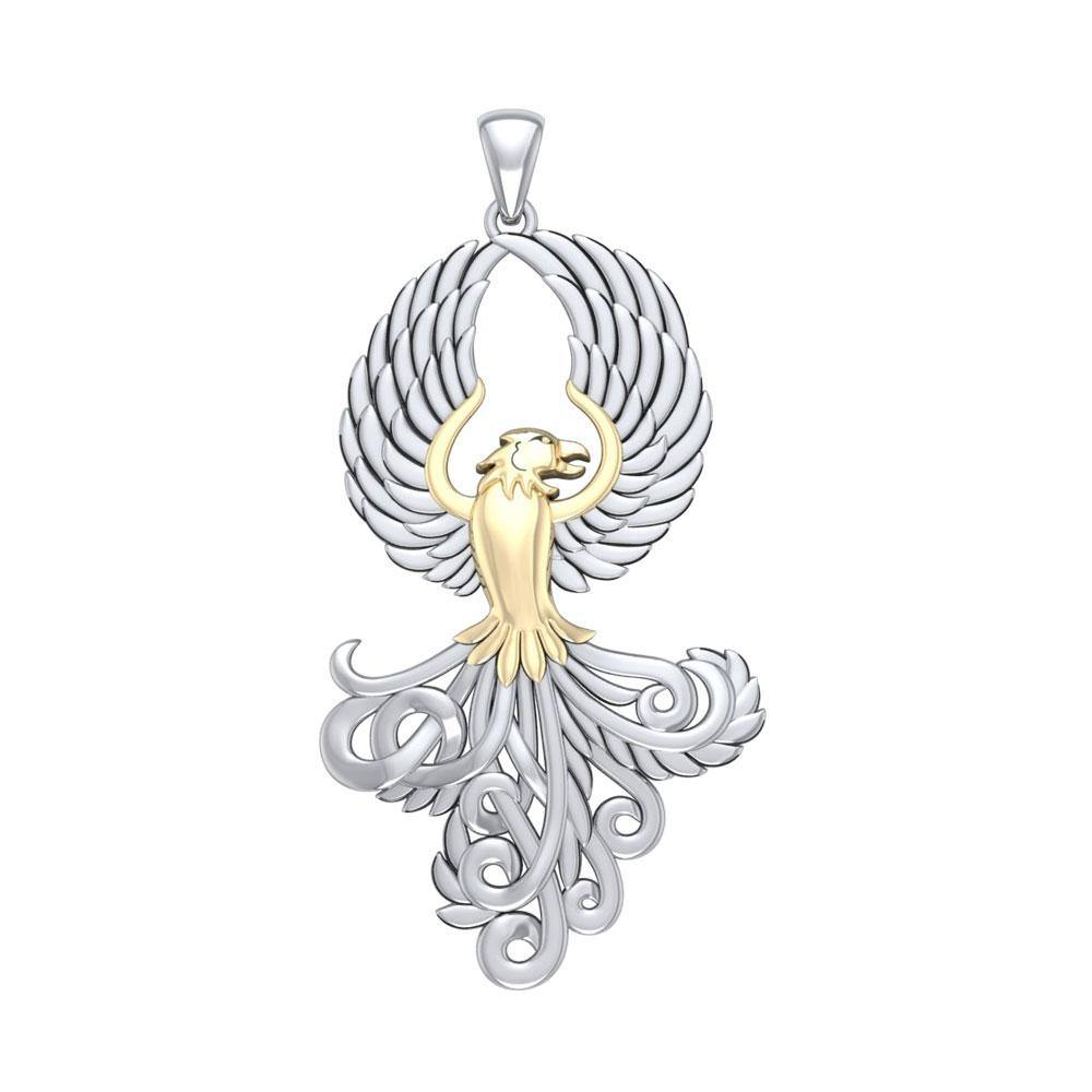 Majestic Phoenix Silver and Gold Pendant