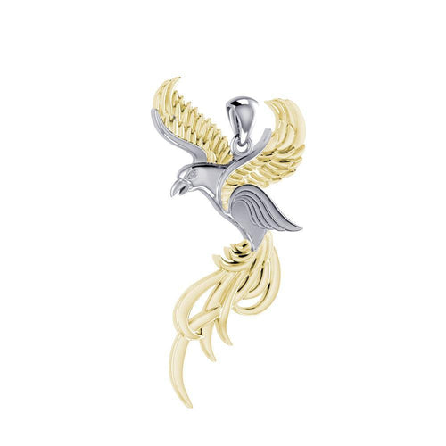 Soar to the Heavens Flying Phoenix Silver and Gold Pendant MPD5072 peterstone.