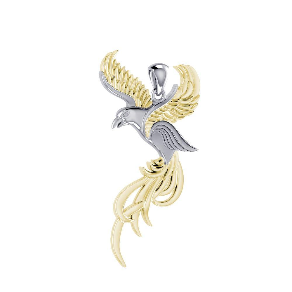 Soar to the Heavens Flying Phoenix Silver and Gold Pendant