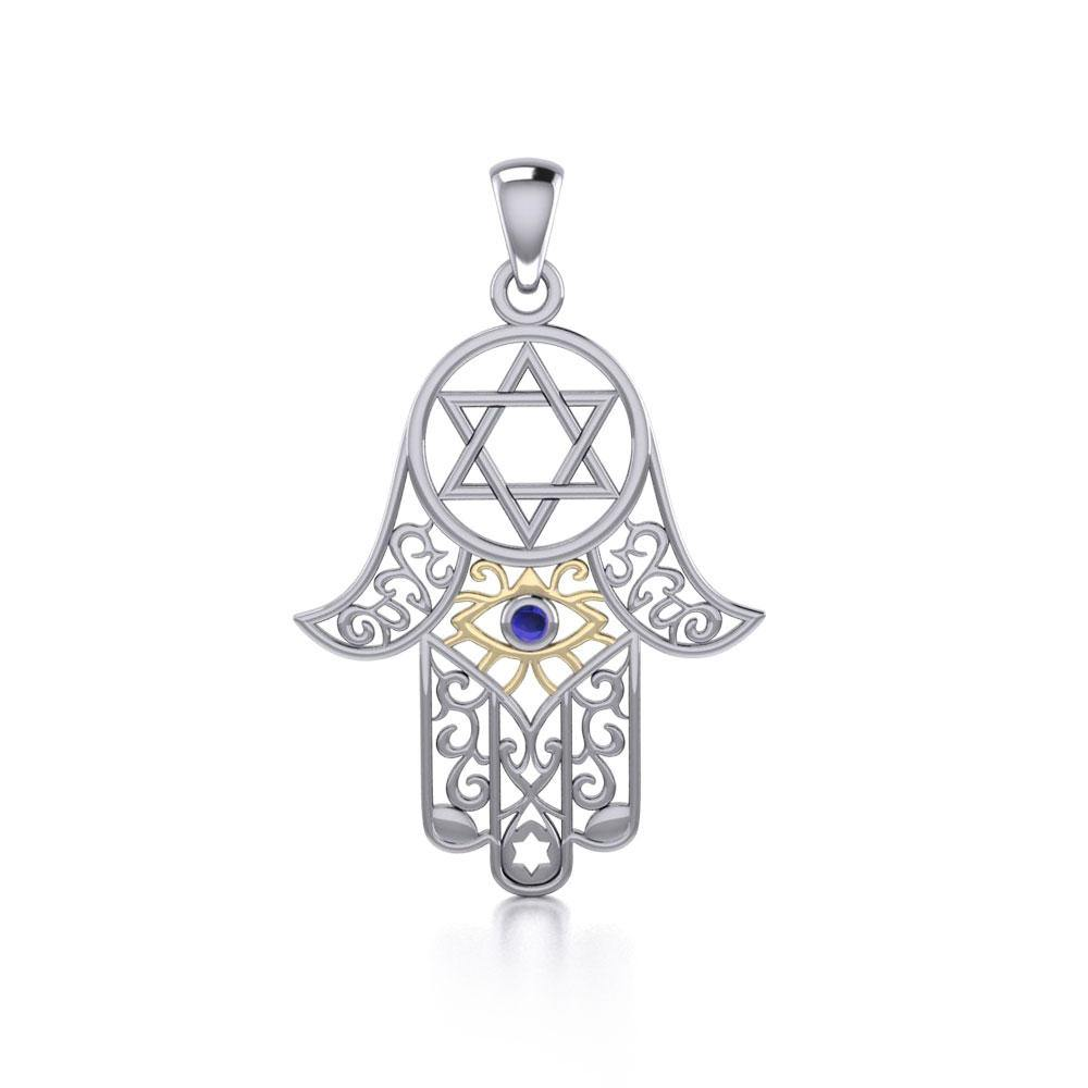 Hamsa Silver and Gold Pendant with Gemstone