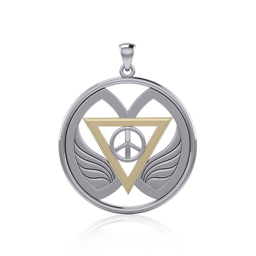 Peace of Feminine Power Silver and Gold Pendant MPD5133 peterstone.