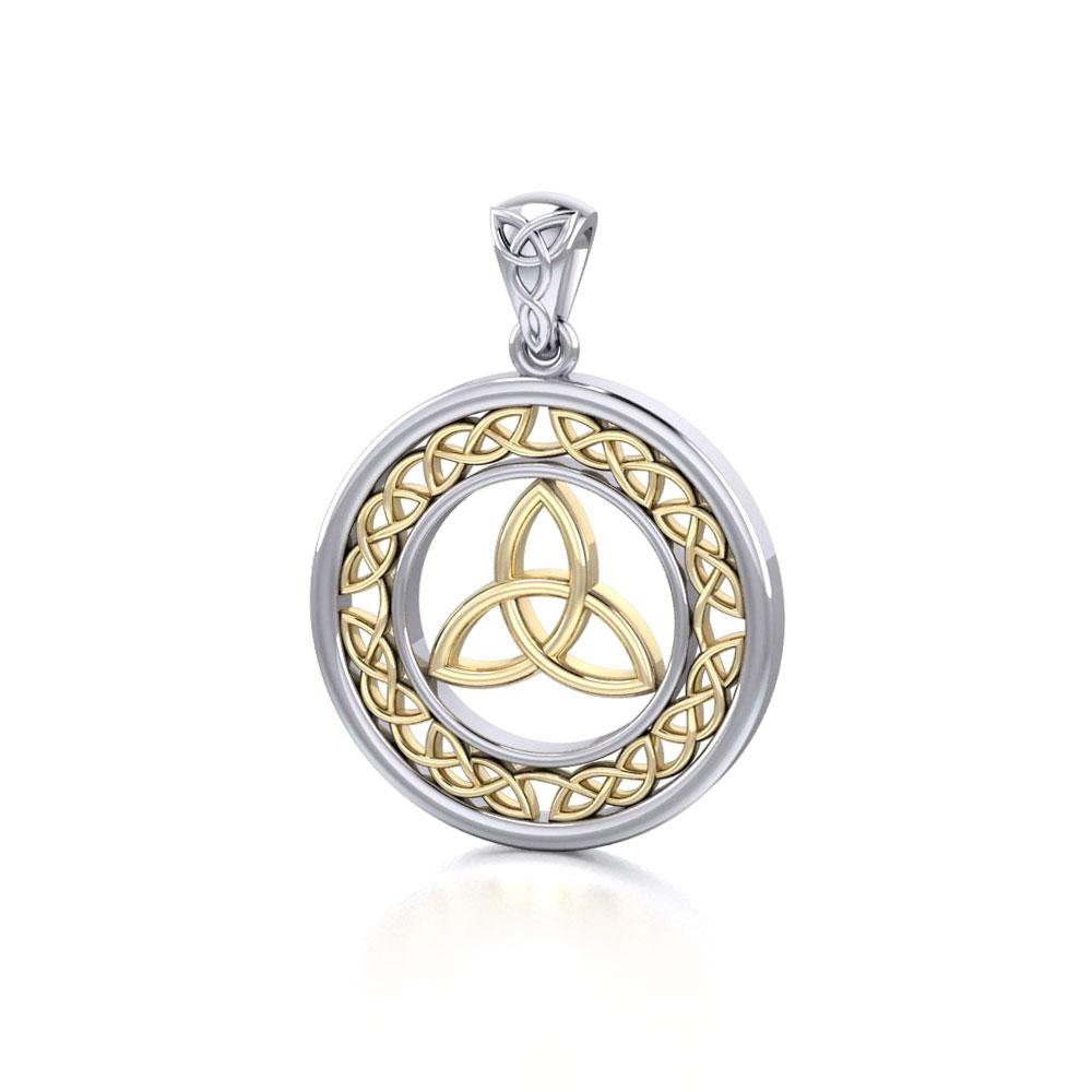 Trinity Knot Silver and 14K Gold Pendant