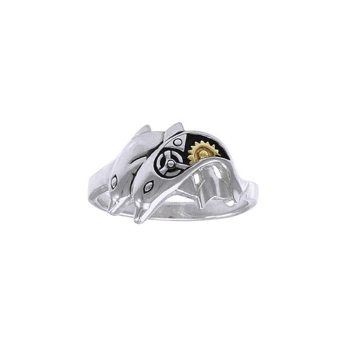 Twin Dolphin Steampunk Silver and Gold Accent MRI1267