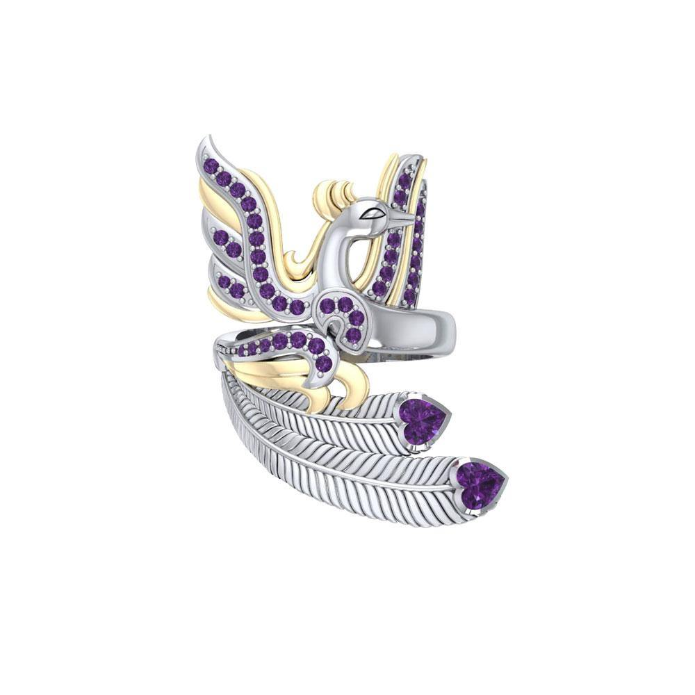 Mythical Phoenix arise! ~ Sterling Silver Jewelry Ring with 14k Gold and Gemstone Accents peterstone.