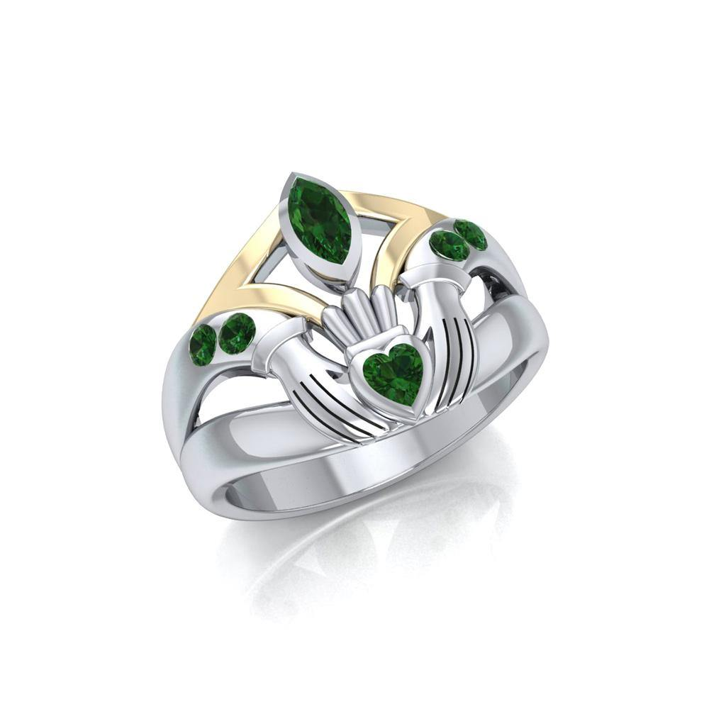 Irish Claddagh Silver & Gold Ring MRI274