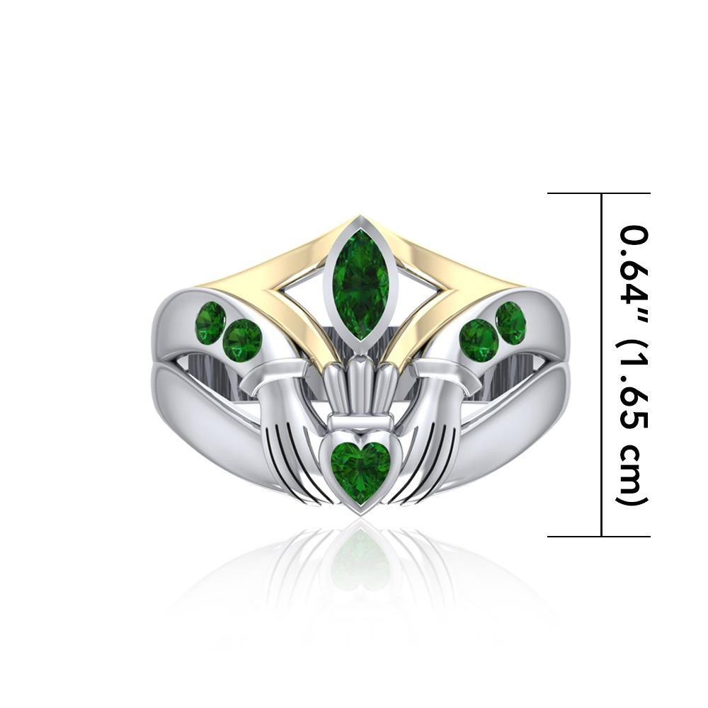 Irish Claddagh Silver & Gold Ring