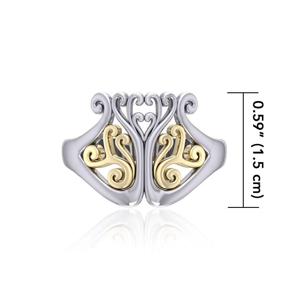 Tree of Life Silver and Gold Ring