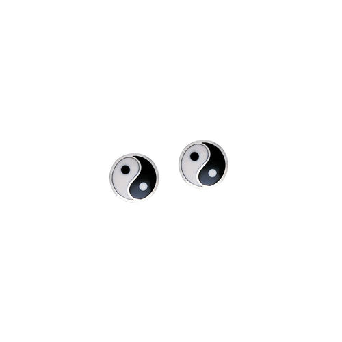 Yin Yang Silver Post Earrings NE016