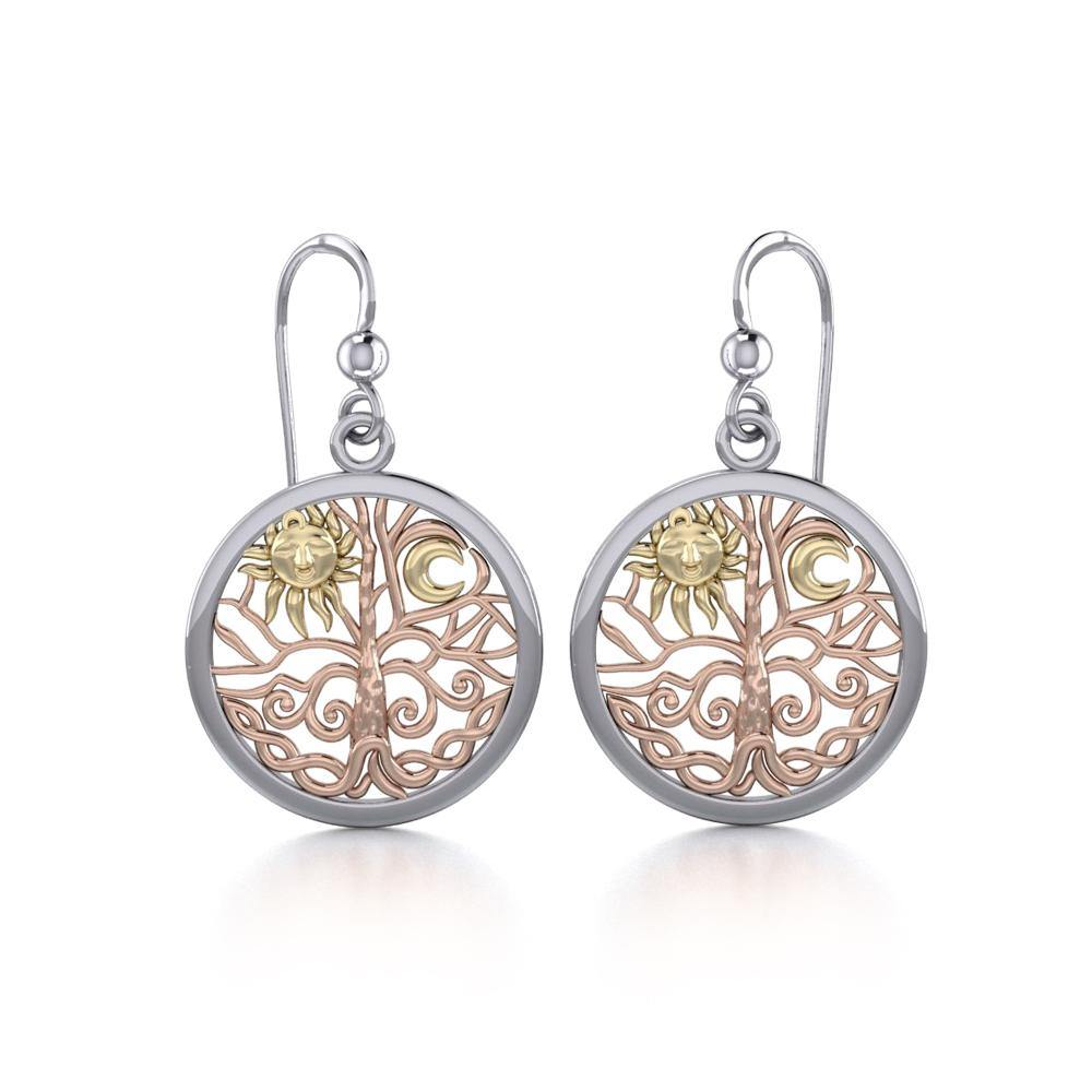 Celtic Tree of Life Three Tone Earrings OER060 peterstone.