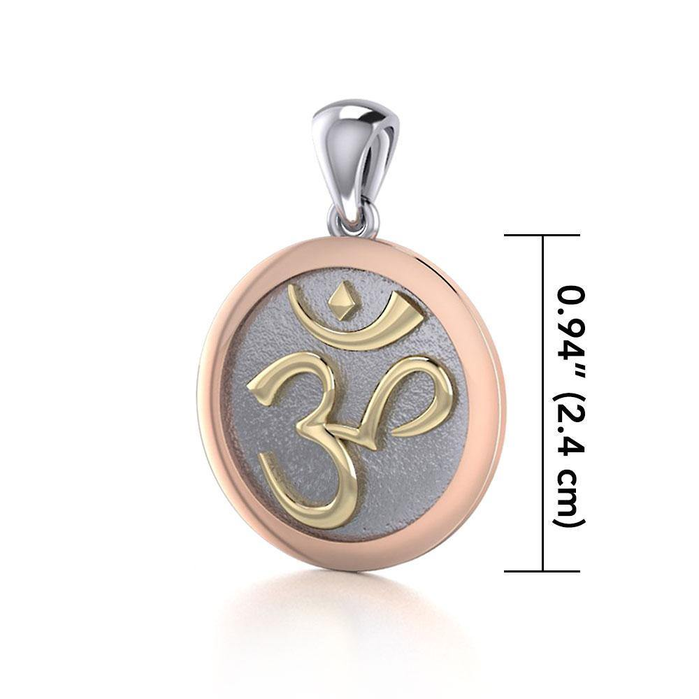 Om Medallion of Spiritual and Mystical Blessings ~ 14k Yellow and Pink gold Pendant