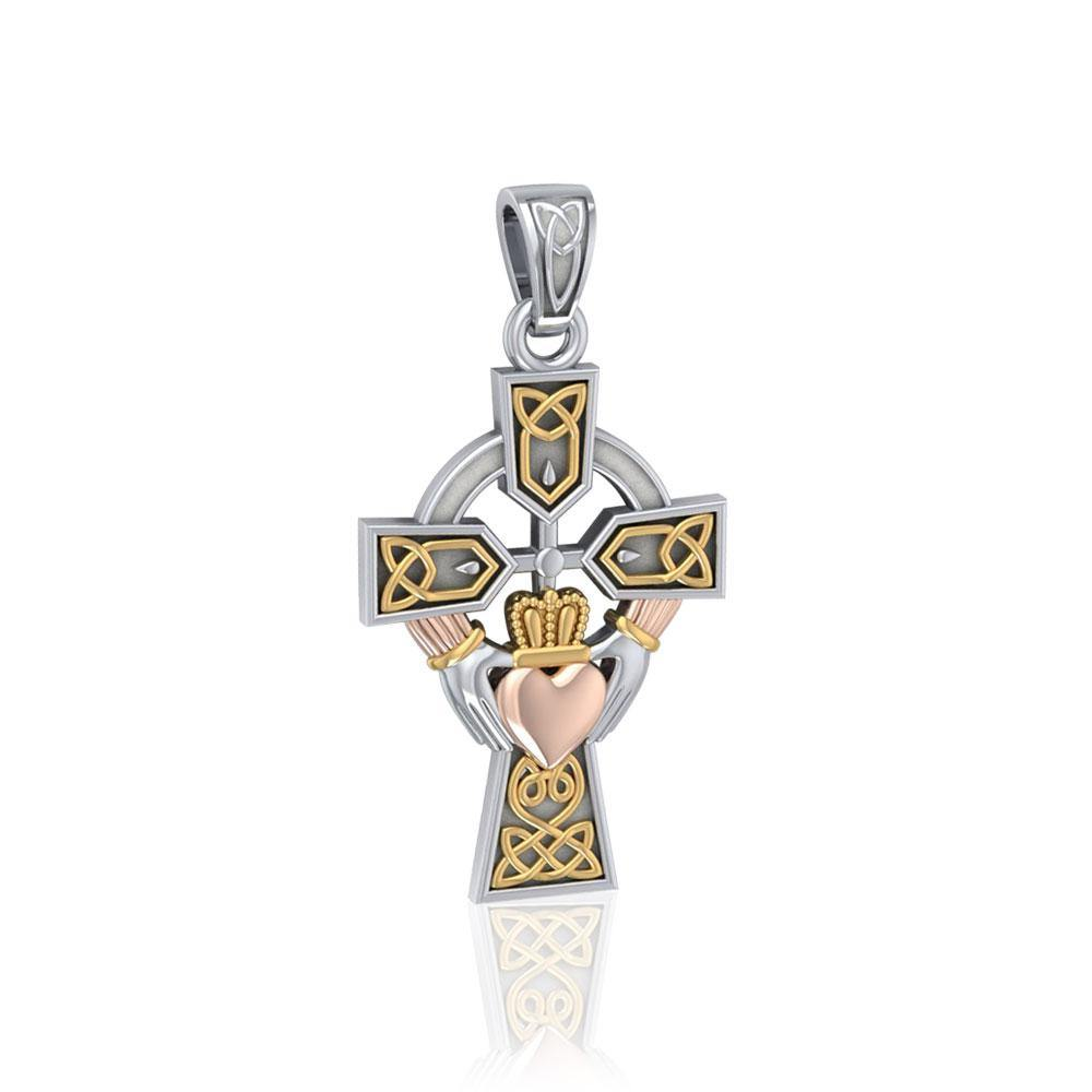 Celtic Cross and Irish Claddagh Three Tone Pendant