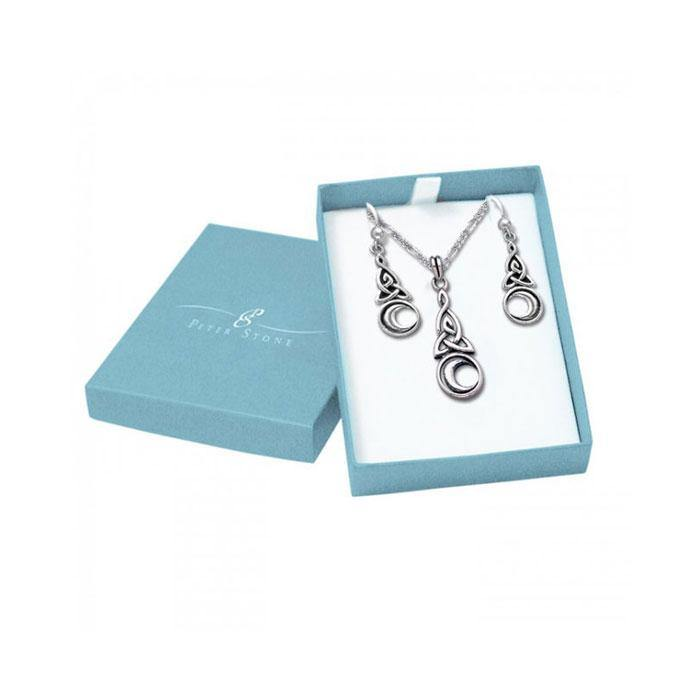 Celtic Knotwork Silver Triquetra with Crescent Moon Pendant Chain and Earrings Box Set SET002 peterstone.
