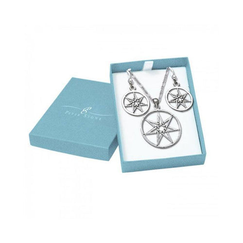 Silver Elven Star Pendant Chain and Earrings Box Set SET015 peterstone.
