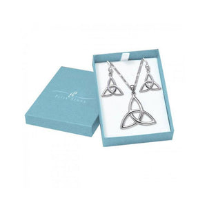 Silver Celtic Trinity Knot Pendant Chain and Earrings Box Set SET017 peterstone.