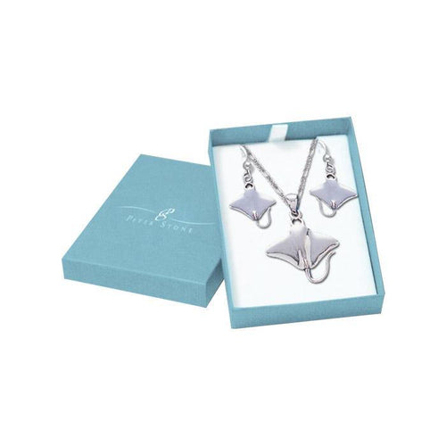 Sterling Silver Manta Ray Pendant Chain and Earrings Box Set SET029 peterstone.