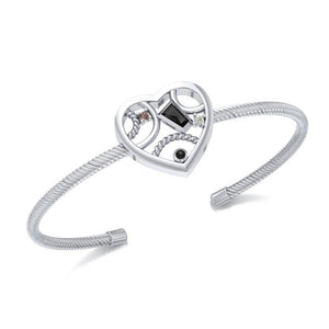 Fantastic Contemporary Design Heart Silver Cuff Bracelet TBA137 peterstone.
