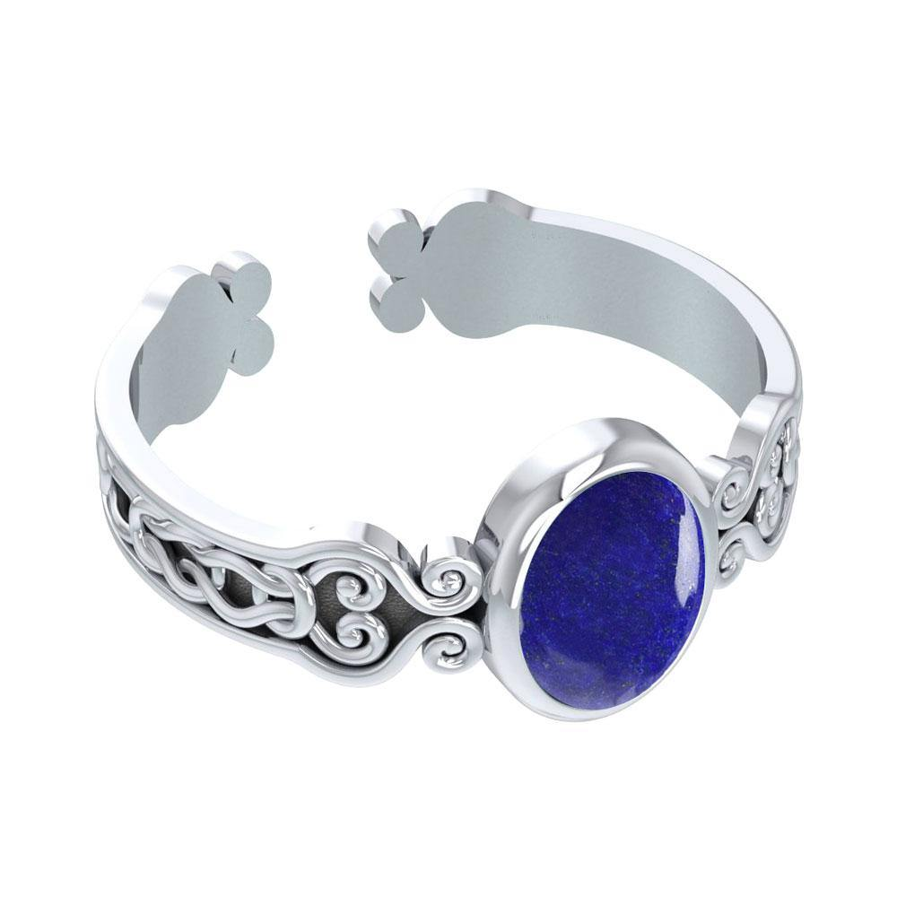 Celtic Knot Spiral Cuff Bracelet with Synthetic Lapis TBA186