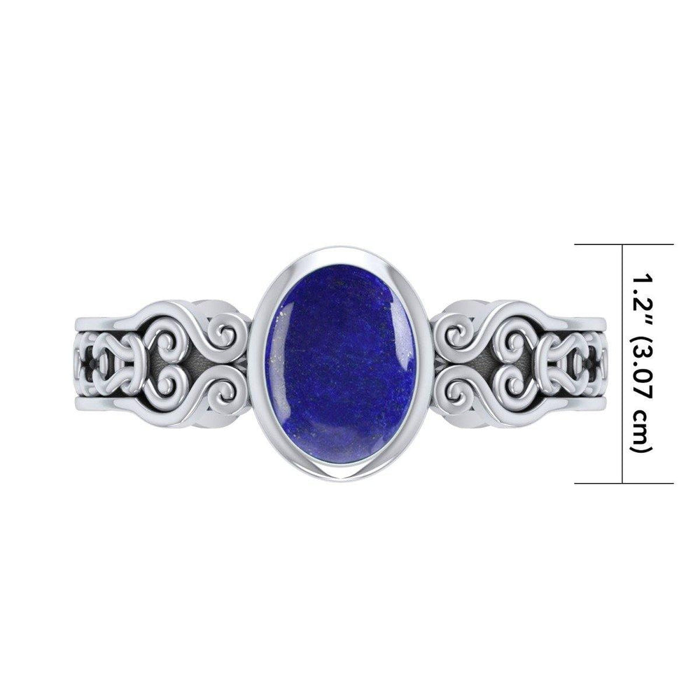Celtic Knot Spiral Cuff Bracelet with Synthetic Lapis