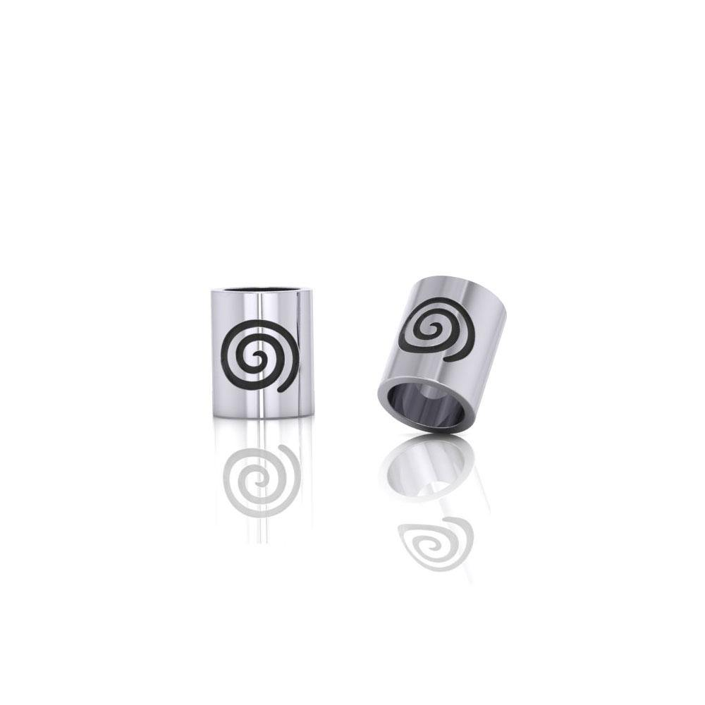 Cylinder with Spiral Silver Bead TBD017