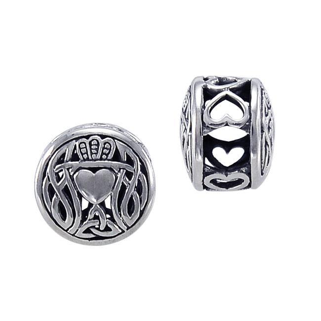 Celtic Knotwork Claddagh Sterling Silver Bead TBD189