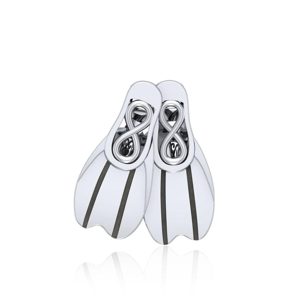 Dive Fins Sterling Silver Bead TBD351
