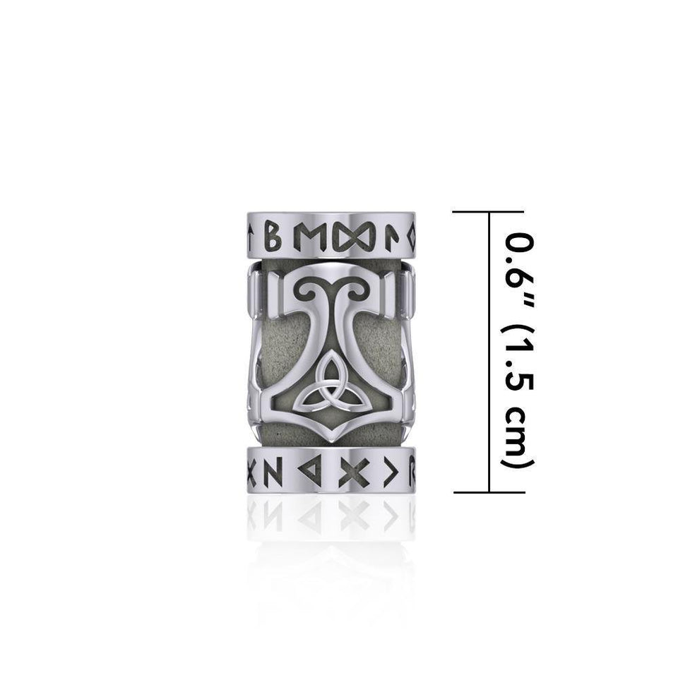 Thor Hammer with Rune Symbol Silver Bead TBD361 peterstone.