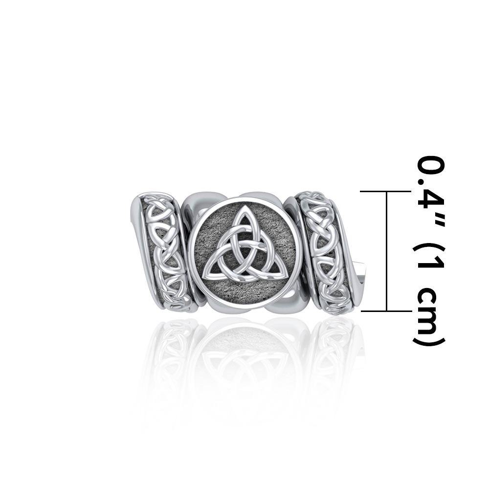 Triquetra with Celtic Accented Silver Bead