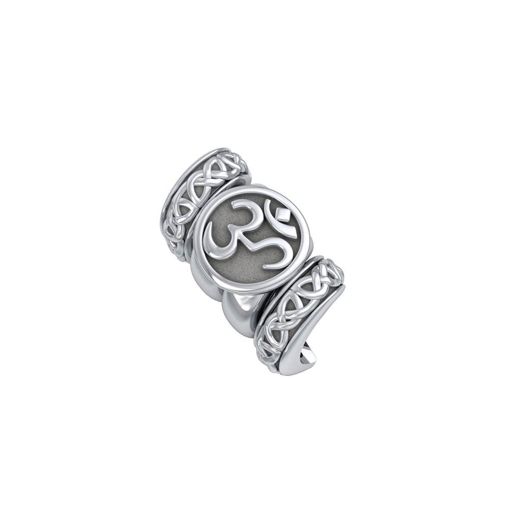Om Symbol with Celtic Accented Silver Bead TBD364 peterstone.