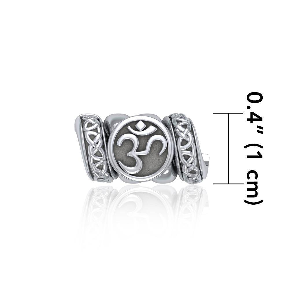 Om Symbol with Celtic Accented Silver Bead